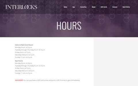 Screenshot of Hours Page interlockssalon.com - Hours | INTERLOCKS Salon + Spa - captured Jan. 25, 2017