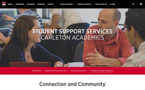Screenshot of Support Page carleton.ca - Student Support Services - Carleton University - captured Oct. 29, 2014