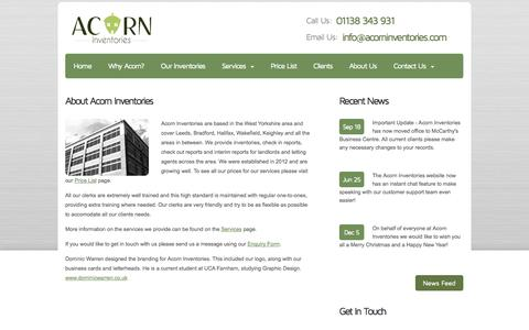 Screenshot of About Page acorninventories.com - About Acorn Inventories - captured Sept. 30, 2014