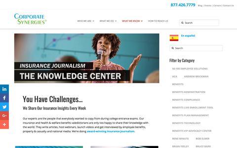 Screenshot of Blog corpsyn.com - Knowledge Center of Award-winning Insurance Journalism - captured Sept. 29, 2018