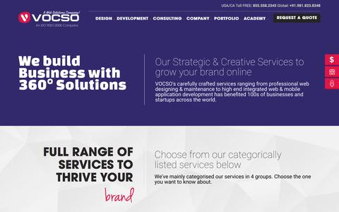 Screenshot of Services Page vocso.com - Website Design and Development Services | Web Designing Solutions in India | VOCSO - captured March 8, 2017