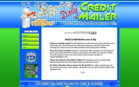 Screenshot of FAQ Page dailycreditmailer.com - DailyCreditMailer.com - captured Nov. 4, 2014