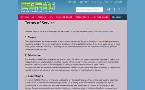 Screenshot of Terms Page stickypiston.co - Terms of Service - StickyPiston Hosting - captured Nov. 4, 2014