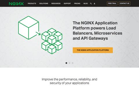Screenshot of Home Page nginx.com - NGINX | High Performance Load Balancer, Web Server, & Reverse Proxy - captured March 31, 2018