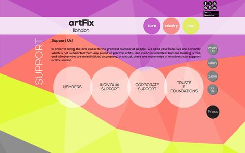Screenshot of Support Page artfixlondon.com - Support | artFix - captured Dec. 28, 2015