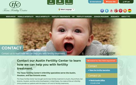 Screenshot of Contact Page txfertility.com - Contact Our Austin Fertility Center - Male and Female Infertility - captured Oct. 26, 2014