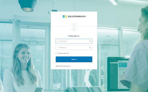 Screenshot of Login Page solutionreach.com - Solutionreach - Sign In - captured June 19, 2018
