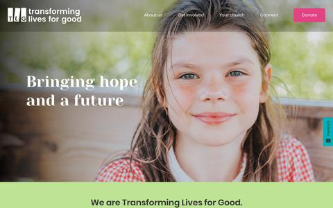Screenshot of Home Page tlg.org.uk - TLG - Transforming lives for good - captured Oct. 20, 2018
