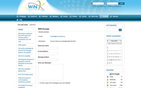Screenshot of Contact Page win-europe.org - WiN Europe - WiN Europe - captured May 24, 2016