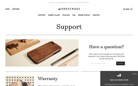Screenshot of Support Page grovemade.com - Grovemade: Wooden iPhone Cases, Desk & Mac Accessories - captured July 16, 2017