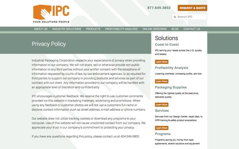Screenshot of Privacy Page ipcinc.com - Privacy Policy « Industrial Packaging Corporation Industrial Packaging Corporation - captured Oct. 6, 2014