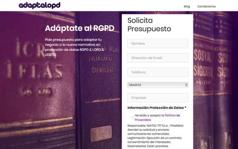 Screenshot of Home Page adaptalopd.com - AdaptaLopd → Adapta tu Empresa al RGPD - captured July 28, 2018