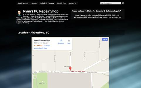 Screenshot of Locations Page ryanspcrepairshop.com - » Location – Abbotsford, BC Ryan's PC Repair Shop - captured Sept. 30, 2014