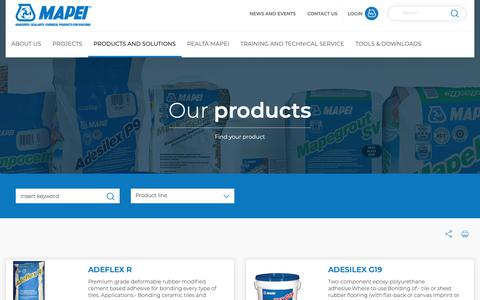 Screenshot of Products Page mapei.com - Mapei Product Catalogue | Choose your Product | Mapei - captured Oct. 16, 2018