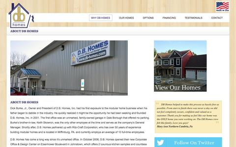 Screenshot of About Page db-homes.com - About DB Homes - Home Builders - DB Homes - captured Oct. 5, 2014