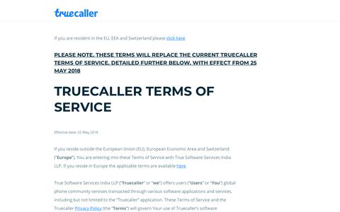 Terms of Service - Truecaller