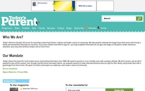 Screenshot of About Page todaysparent.com - About us - Today's Parent - captured Sept. 18, 2014