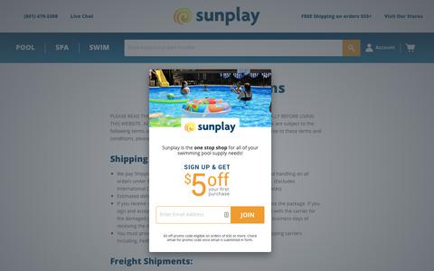Screenshot of Terms Page sunplay.com - Terms and Conditions - Sunplay - captured Oct. 18, 2018