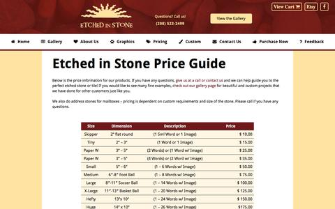 Screenshot of Pricing Page rocksthattalk.com - Price Guide - Etched in Stone - captured Nov. 11, 2016