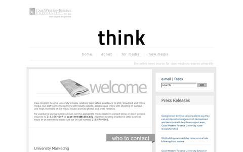 Screenshot of Press Page case.edu - think:media - captured July 18, 2014