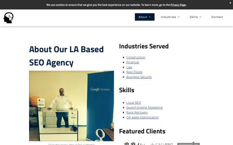 Screenshot of About Page gobiya.com - SEO Agency | Los Angeles, CA | About Gobiya - captured Sept. 22, 2019