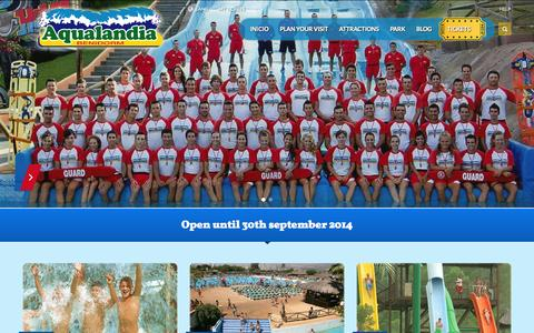 Screenshot of Home Page aqualandia.net - Aqualandia Water Park in Benidorm, Ticket Prices Attractions and Show Times - captured Jan. 28, 2015