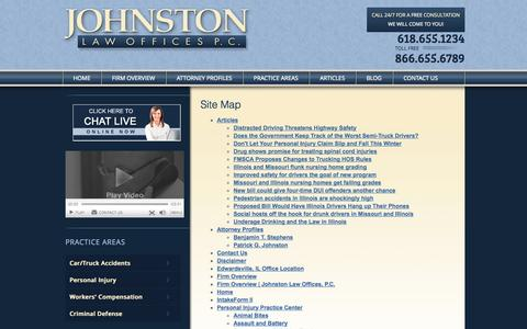 Screenshot of Site Map Page pgjlaw.com - Site Map - Law Firm Johnston Law Offices, P.C. Attorneys Edwardsville, Illinois - captured Oct. 8, 2014
