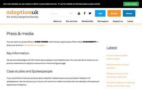Screenshot of Press Page adoptionuk.org - Adoption UK Charity | Press & media - captured July 29, 2018