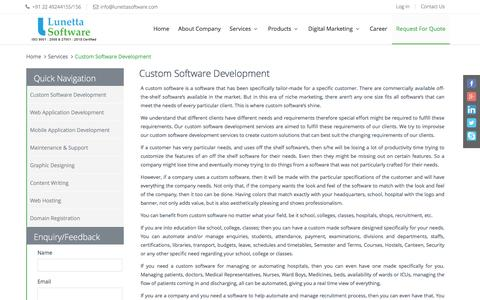 Screenshot of Services Page lunettasoftware.com - Custom Software Development, Customized Software - captured Nov. 15, 2016