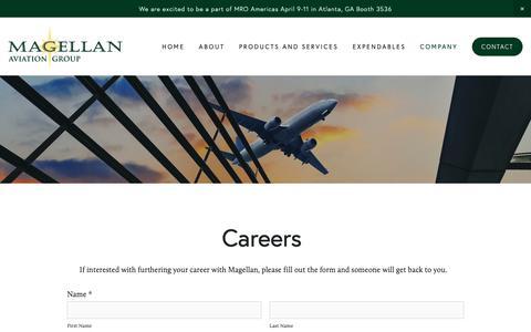 Screenshot of Jobs Page magellangroup.net - Careers — Magellan Aviation Group - captured April 16, 2019