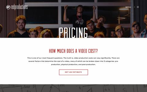 Screenshot of Pricing Page redproductions.com - Video Production Costs and Pricing - Red Productions - captured Sept. 20, 2018