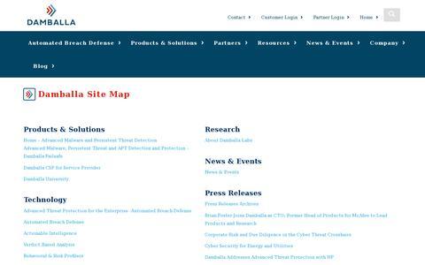 Screenshot of Site Map Page damballa.com - Site Map   Damballa - captured July 21, 2014