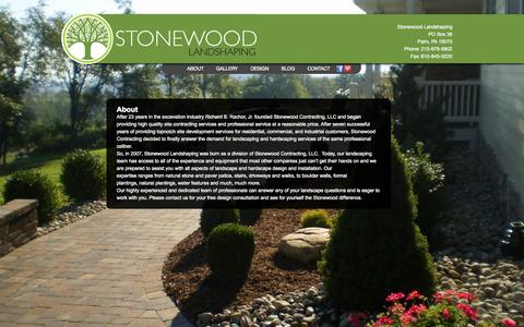 Screenshot of About Page stonewoodlandshaping.com - Landscaping and Hardscaping Design in Lehigh, Berks, Bucks Counties PA Stonewood Landshaping - captured Oct. 7, 2014