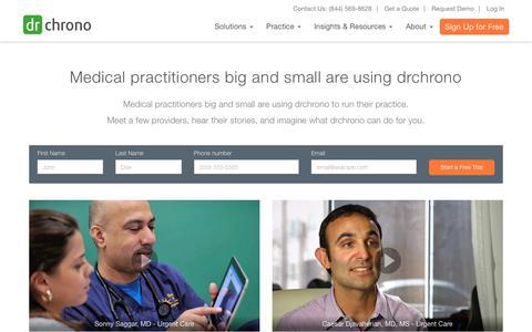 Screenshot of Testimonials Page drchrono.com - Top EHR Reviews& EMR testimonials from Physicians | drchrono - captured Feb. 8, 2018