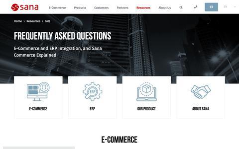 Screenshot of FAQ Page sana-commerce.com - Sana Commerce FAQ: E-Commerce, ERP, & Sana Questions Answered - captured Jan. 22, 2019