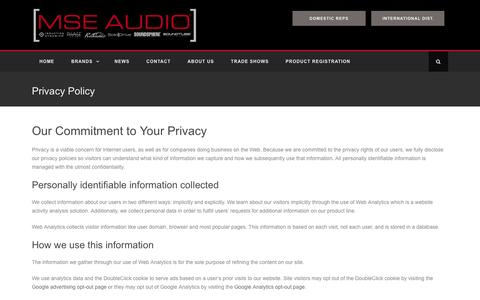 Screenshot of Privacy Page mseaudio.com - Privacy Policy - MSE Audio - captured July 21, 2016