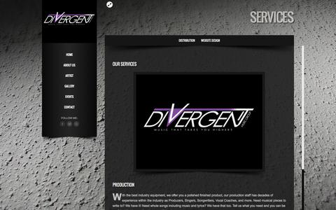 Screenshot of Services Page divergentmusic.net - Services | Divergent Music Group - Music That Takes You Higher - captured Oct. 5, 2014