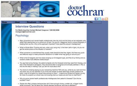 Screenshot of FAQ Page drcochran.org - Dr. Cochran: Interview Questions - captured Oct. 26, 2014