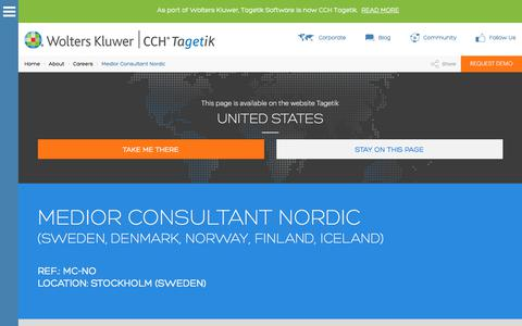 Screenshot of Jobs Page tagetik.com - Medior Consultant Nordic: Work with Us | CCH Tagetik - captured March 8, 2018
