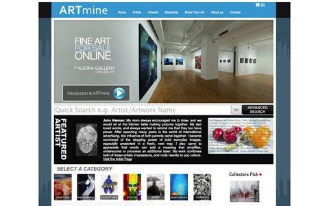 Screenshot of Home Page art-mine.com - Original Contemporary Fine Art For Sale by Agora Gallery - captured Sept. 23, 2014