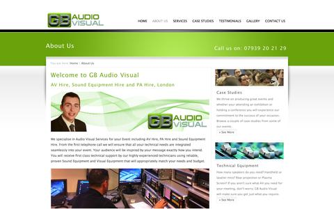 Screenshot of About Page gbaudiovisual.co.uk - About Us, AV Hire and Sound Equipment Hire, Croydon, London, UK | GB Audio Visual - captured Sept. 26, 2014