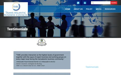 Screenshot of Testimonials Page transatlanticbusiness.org - Testimonials - captured Sept. 29, 2018