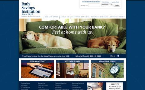 Screenshot of Home Page bathsavings.com - Local Maine Bank Serving the Coastal Maine Community | Bath Savings Institution - captured Oct. 5, 2014