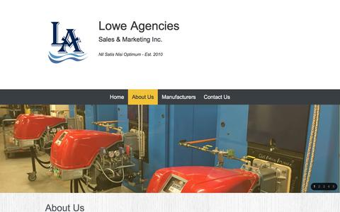 Screenshot of About Page loweagencies.ca - Lowe Agencies Sales and Marketing Inc. - About Us - captured Sept. 11, 2017