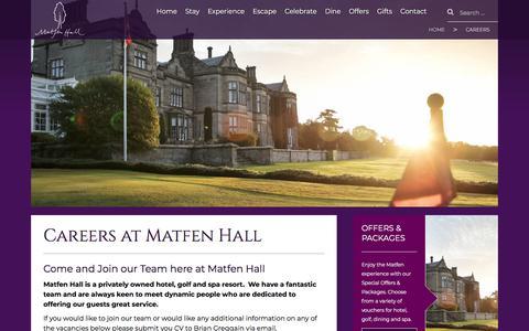 Screenshot of Jobs Page matfenhall.com - Careers at Matfen Hall Hotel - captured Sept. 20, 2018