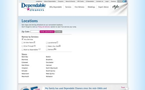 Screenshot of Locations Page dependablecleaners.com - Dependable Cleaners Locations   Dependable Cleaners - captured Sept. 30, 2014