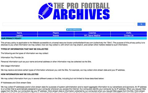 Screenshot of Privacy Page profootballarchives.com - Privacy Policy - The Pro Football Archives - captured May 23, 2016