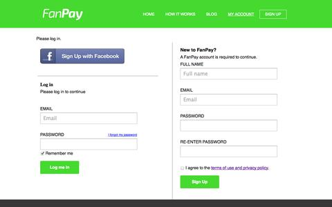 Screenshot of Signup Page fanpay.org - FanPay: Fundraising platform for college sports - captured Oct. 30, 2014