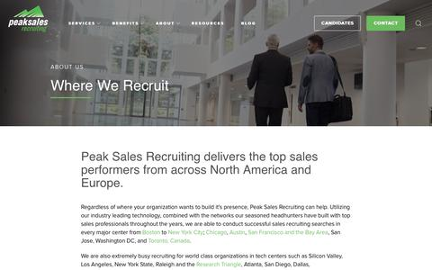 Screenshot of Locations Page peaksalesrecruiting.com - Where We Recruit - captured July 16, 2018