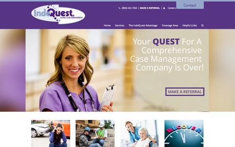 Screenshot of Home Page indequest.com - Indequest - Nurse Case Management - Indequest - captured Jan. 25, 2015